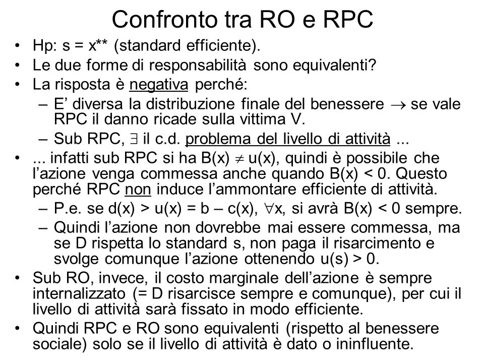 Confronto tra RO e RPC Hp: s = x** (standard efficiente).