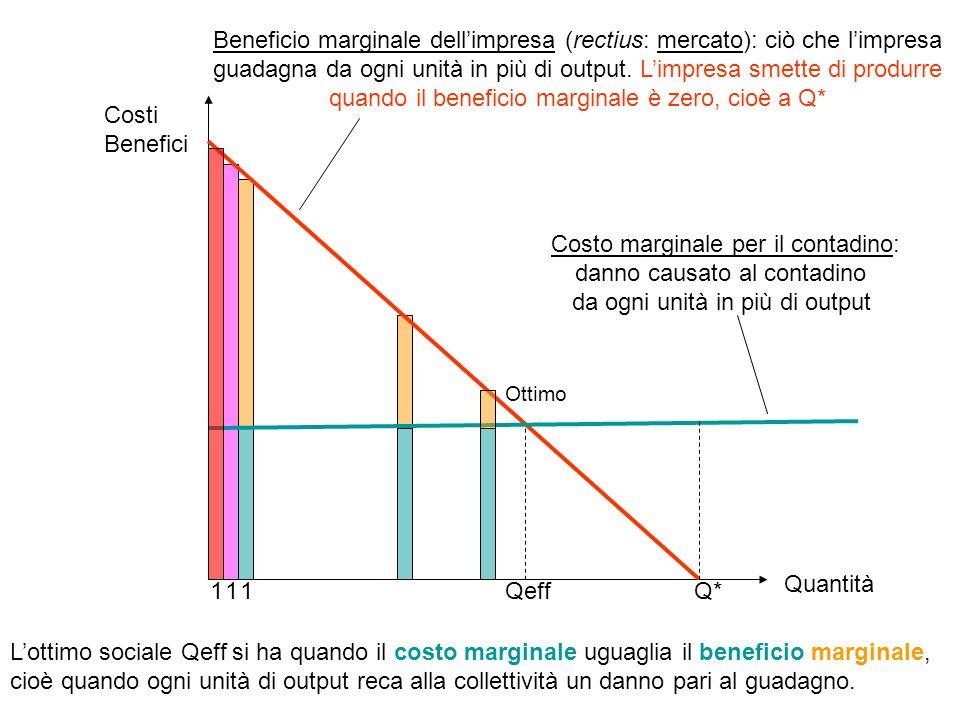 Beneficio marginale dell'impresa (rectius: mercato): ciò che l'impresa