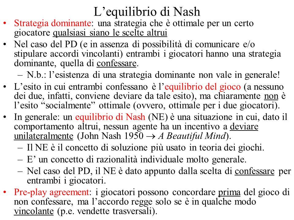 L'equilibrio di Nash Strategia dominante: una strategia che è ottimale per un certo giocatore qualsiasi siano le scelte altrui.