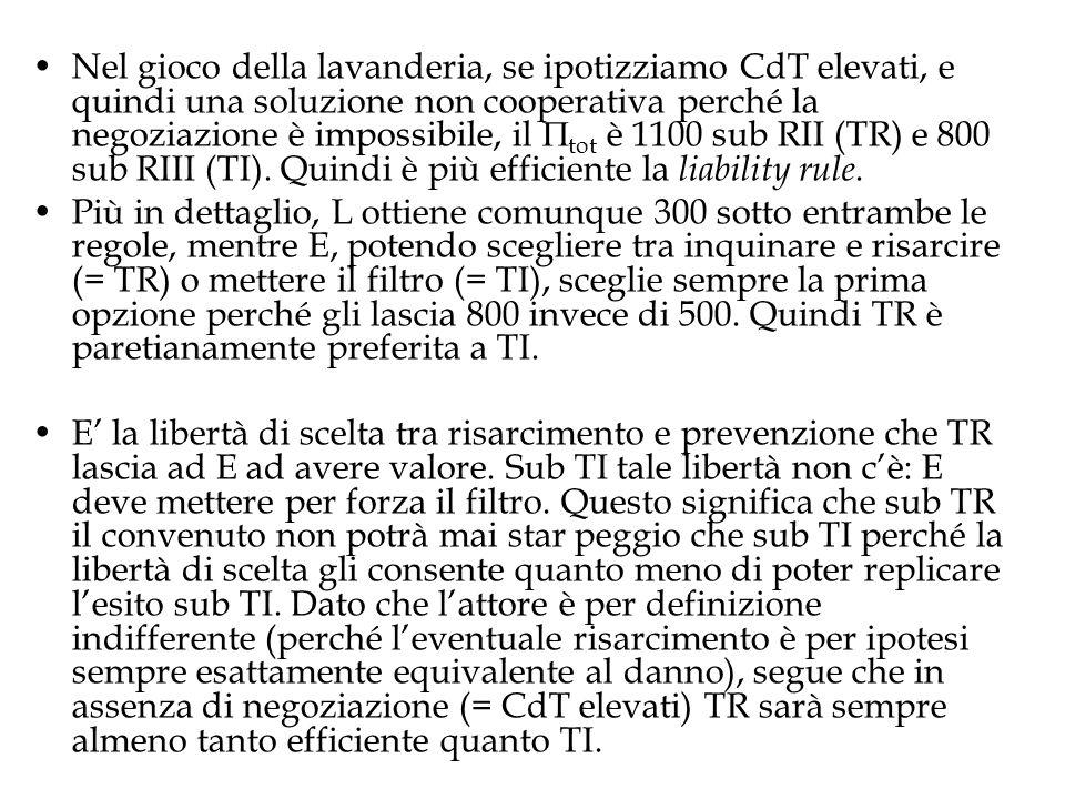 Nel gioco della lavanderia, se ipotizziamo CdT elevati, e quindi una soluzione non cooperativa perché la negoziazione è impossibile, il tot è 1100 sub RII (TR) e 800 sub RIII (TI). Quindi è più efficiente la liability rule.