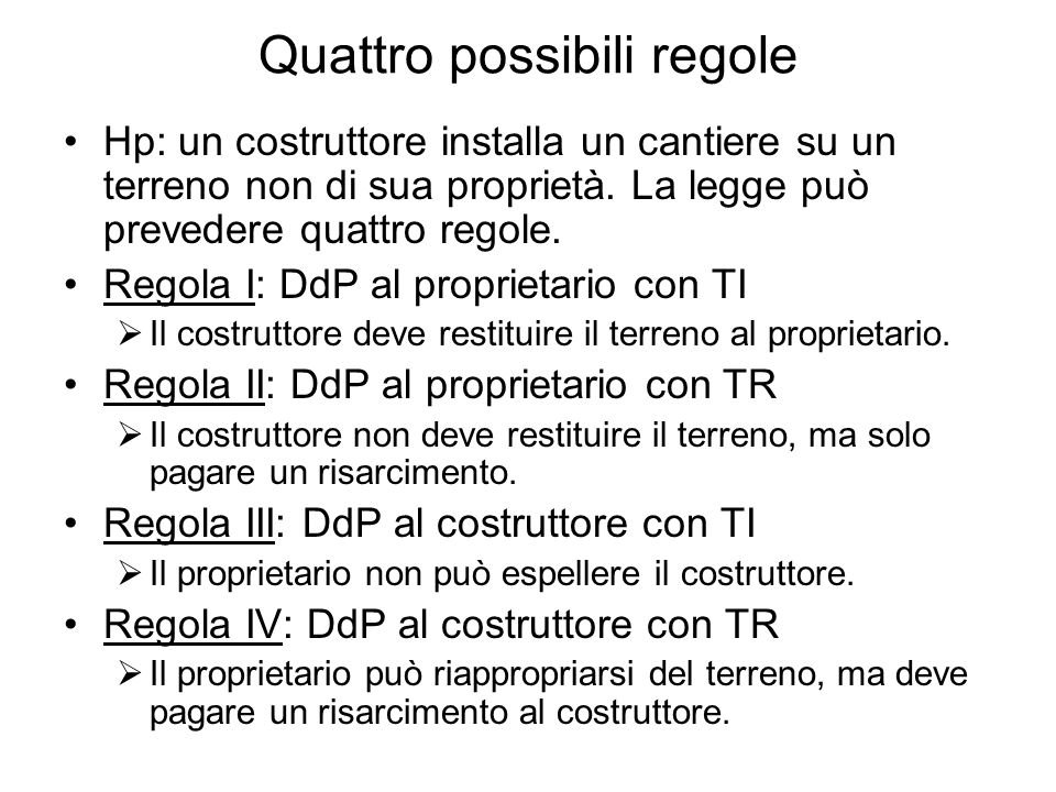Quattro possibili regole