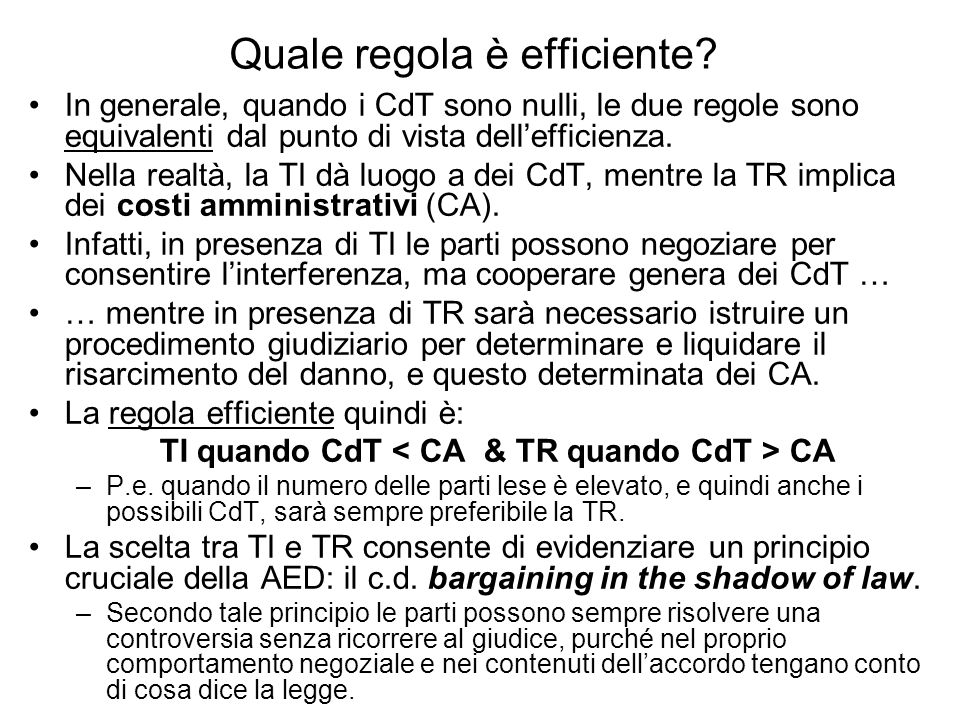 Quale regola è efficiente