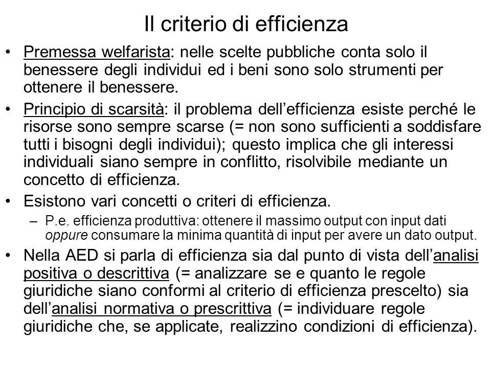 Il criterio di efficienza