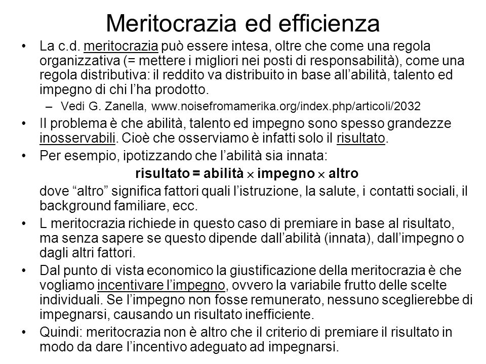 Meritocrazia ed efficienza