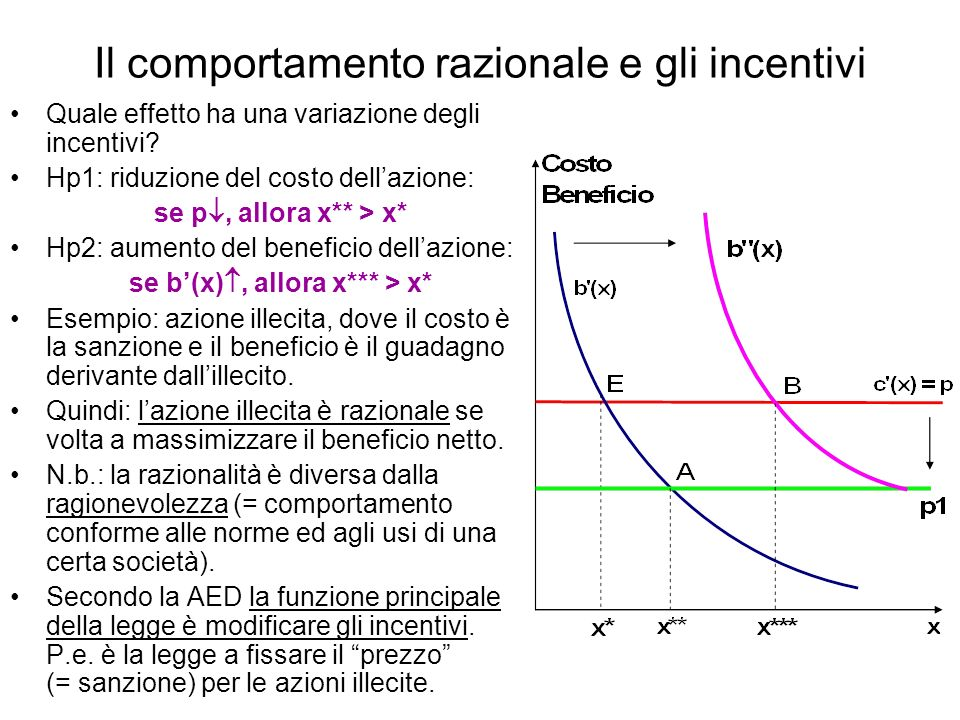 Il comportamento razionale e gli incentivi