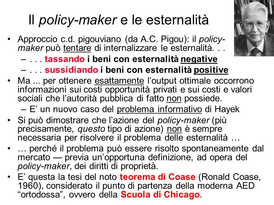 Il policy-maker e le esternalità