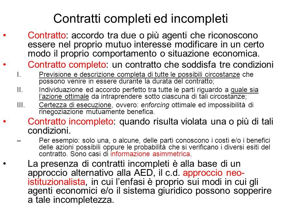 Contratti completi ed incompleti