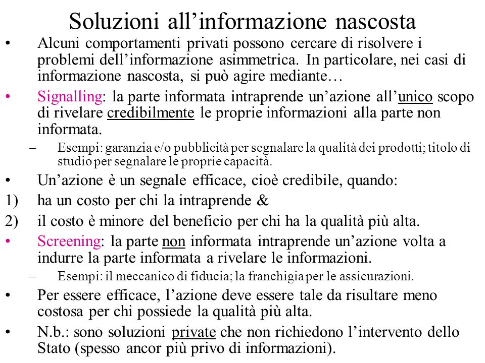 Soluzioni all'informazione nascosta