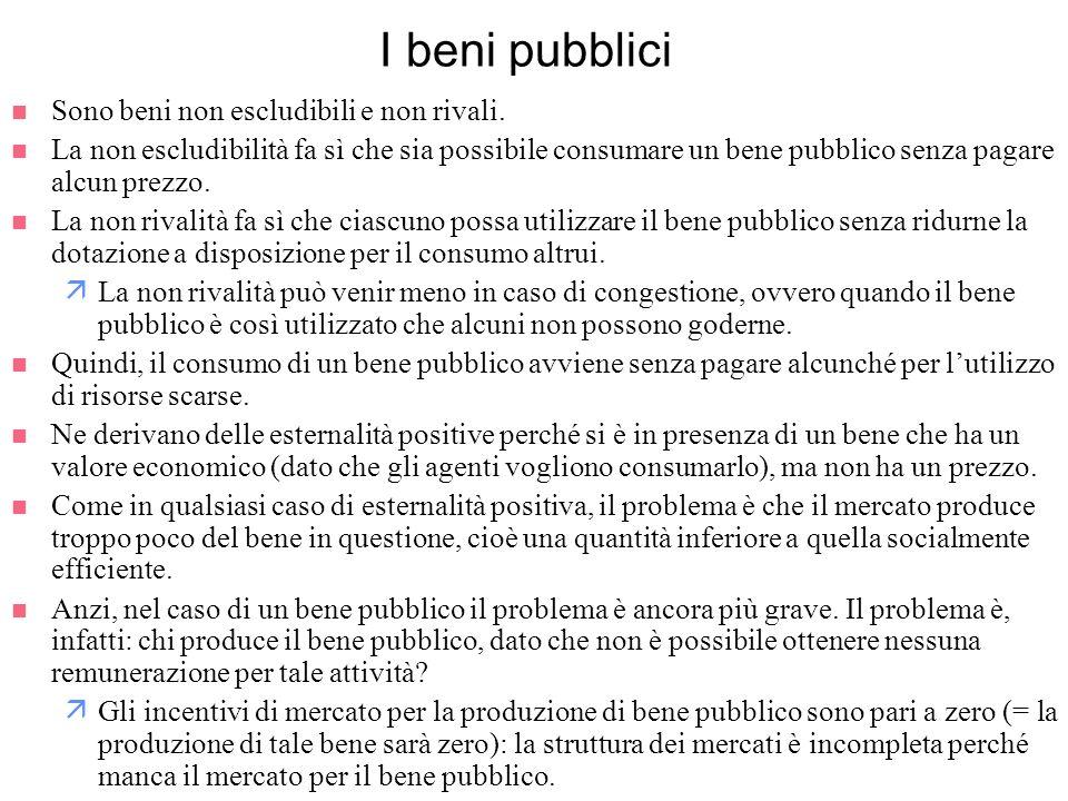 I beni pubblici Sono beni non escludibili e non rivali.