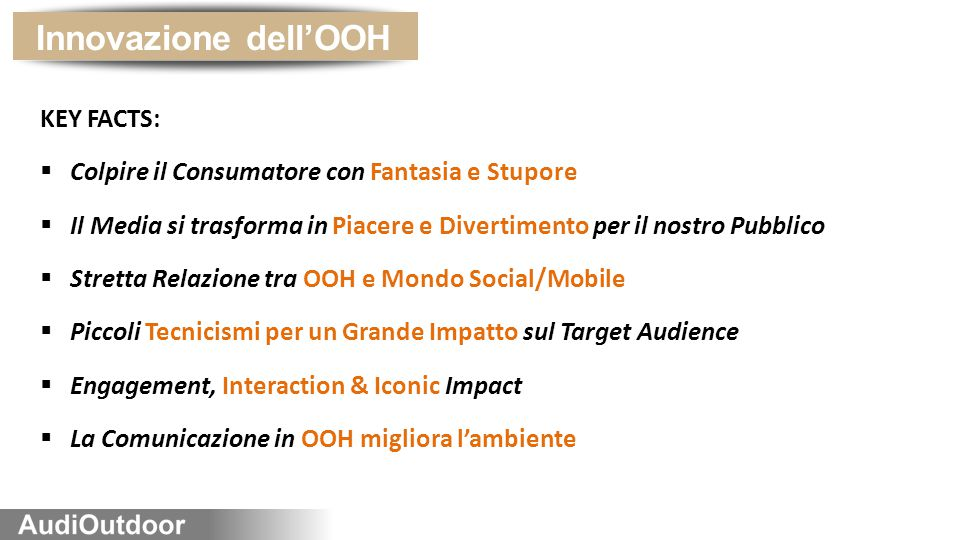 Innovazione dell'OOH KEY FACTS: