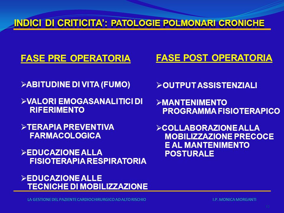 INDICI DI CRITICITA': PATOLOGIE POLMONARI CRONICHE