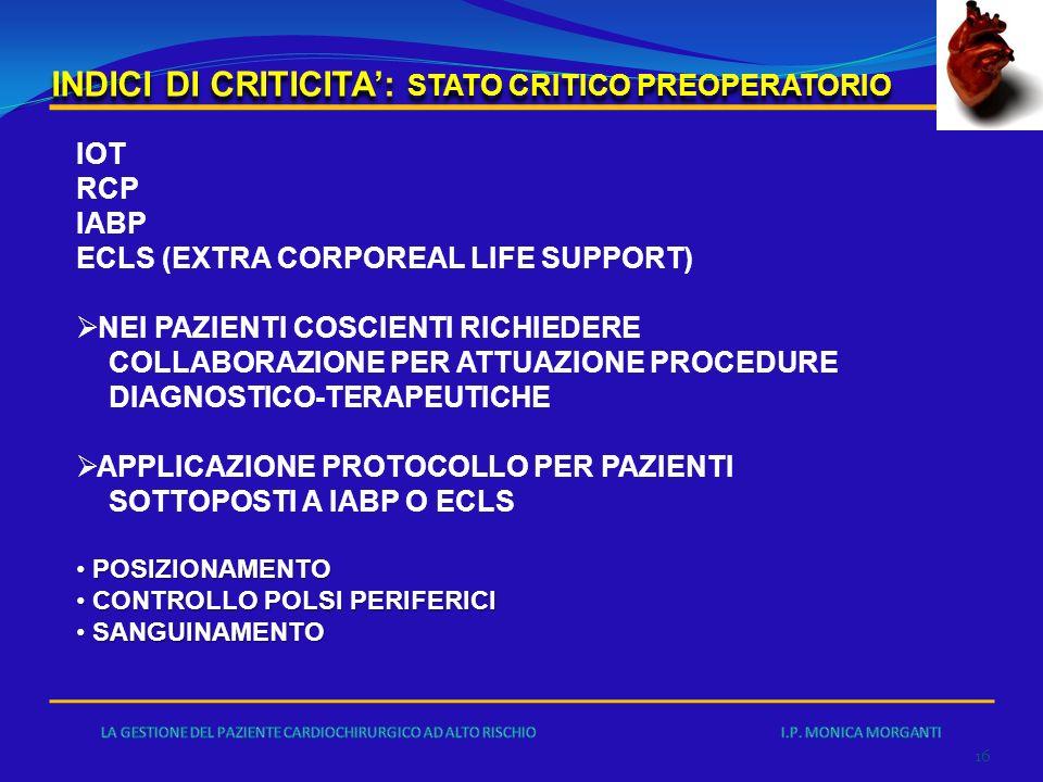 INDICI DI CRITICITA': STATO CRITICO PREOPERATORIO