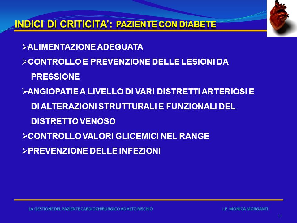 INDICI DI CRITICITA': PAZIENTE CON DIABETE