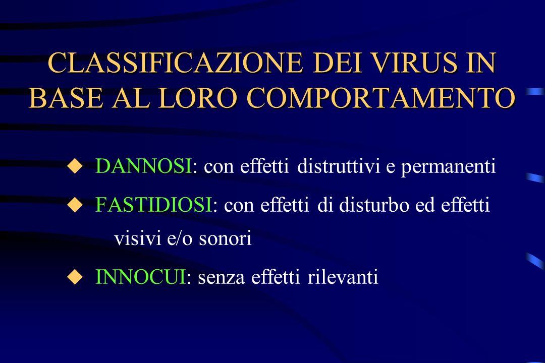 CLASSIFICAZIONE DEI VIRUS IN BASE AL LORO COMPORTAMENTO