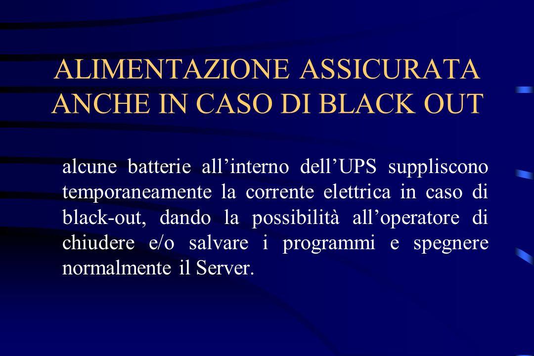 ALIMENTAZIONE ASSICURATA ANCHE IN CASO DI BLACK OUT