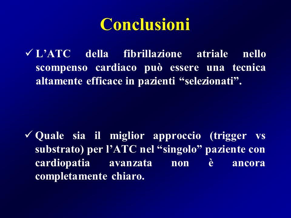 Conclusioni L'ATC della fibrillazione atriale nello scompenso cardiaco può essere una tecnica altamente efficace in pazienti selezionati .
