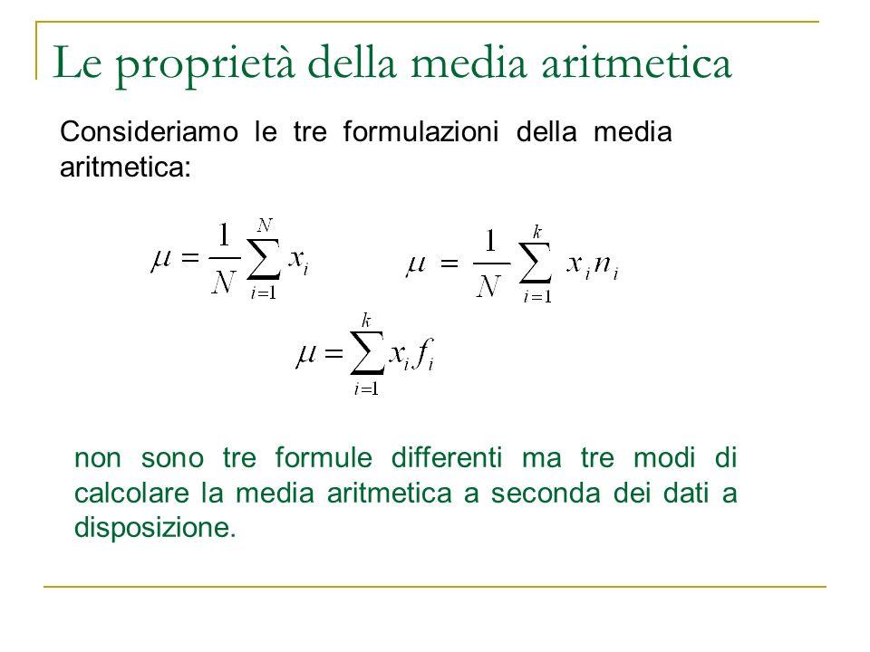 Le proprietà della media aritmetica
