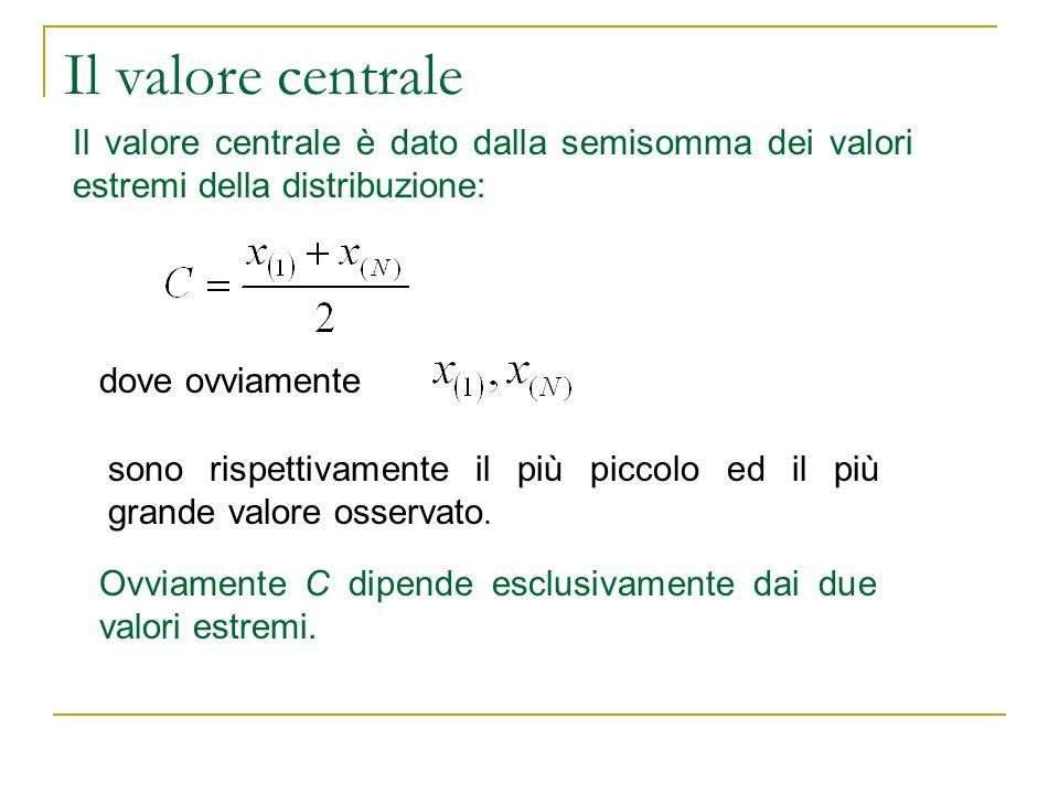 Il valore centrale Il valore centrale è dato dalla semisomma dei valori estremi della distribuzione: