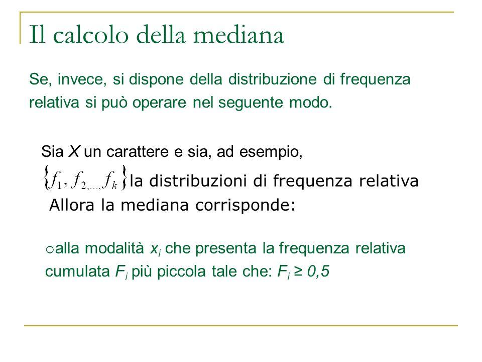 Il calcolo della mediana