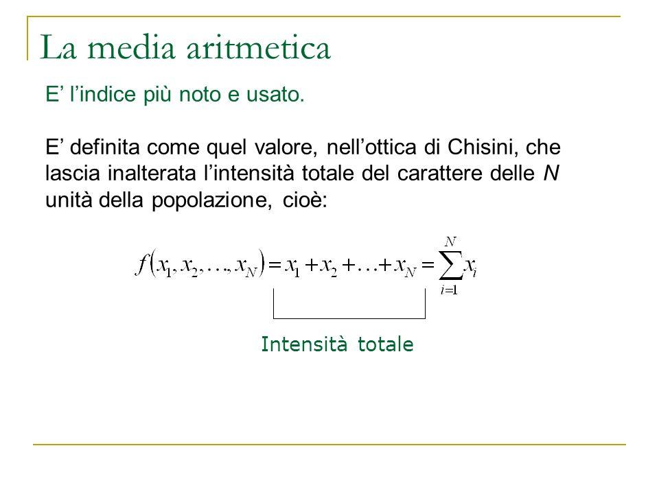 La media aritmetica E' l'indice più noto e usato.
