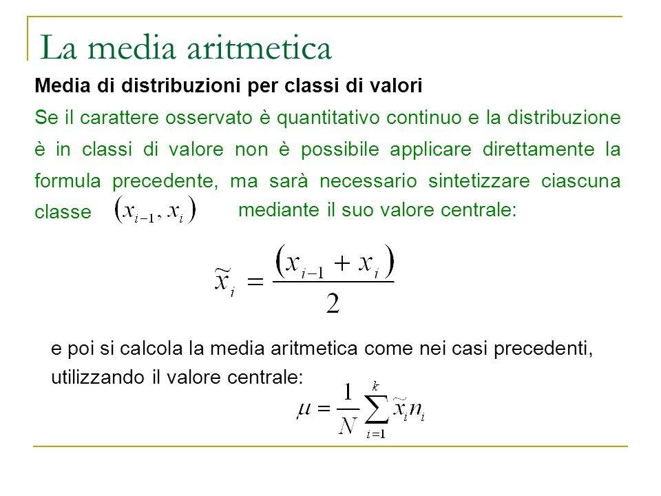 La media aritmetica Media di distribuzioni per classi di valori