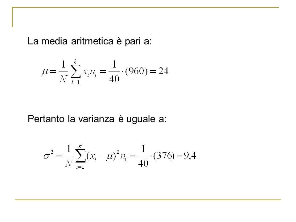 La media aritmetica è pari a: