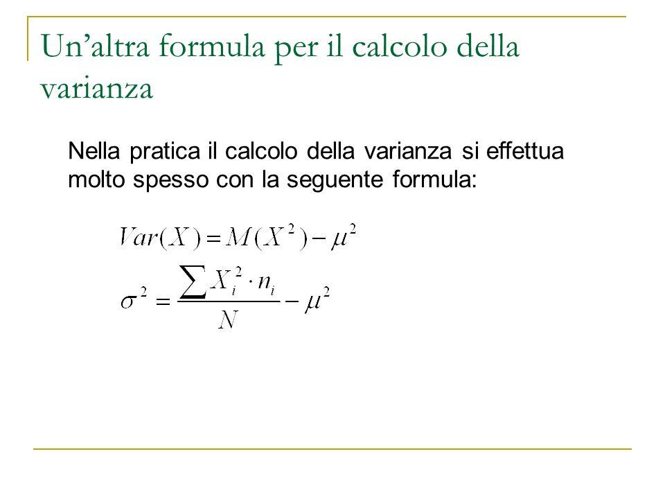 Un'altra formula per il calcolo della varianza