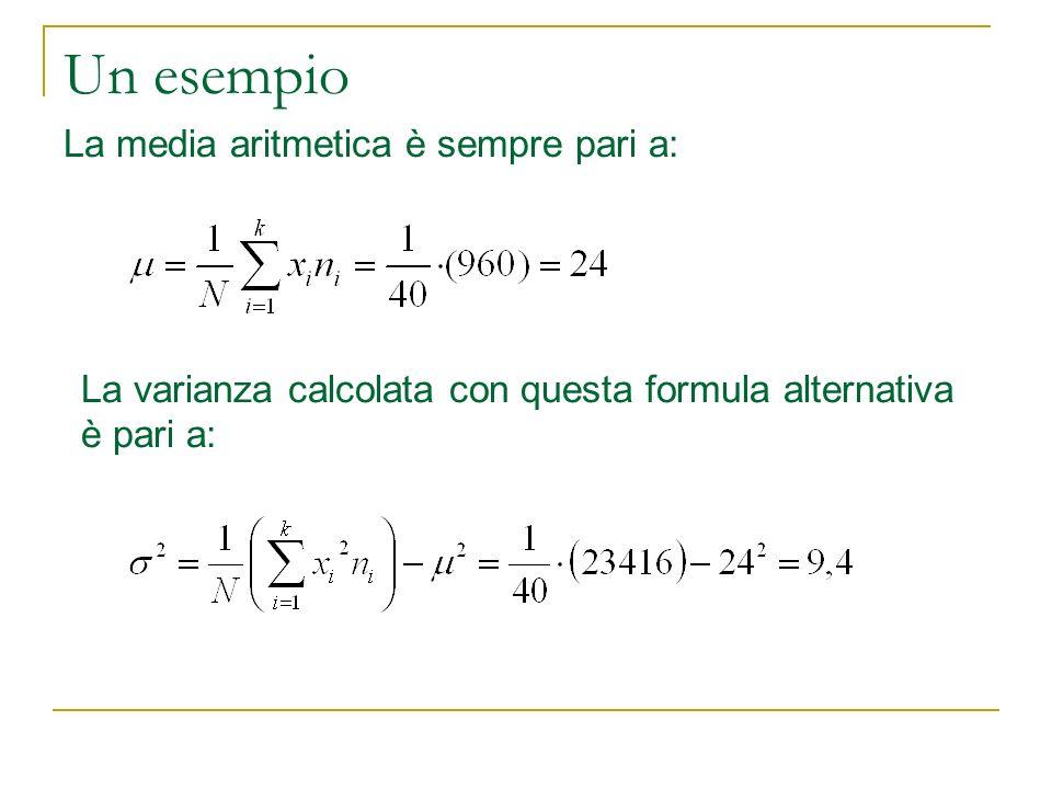 Un esempio La media aritmetica è sempre pari a: