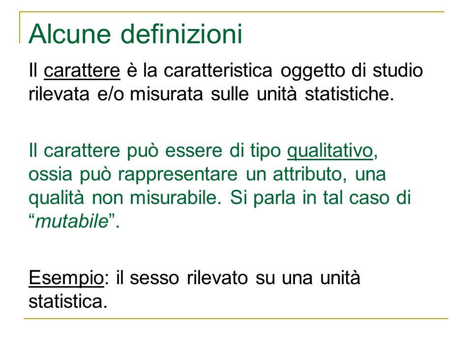 Alcune definizioni Il carattere è la caratteristica oggetto di studio rilevata e/o misurata sulle unità statistiche.
