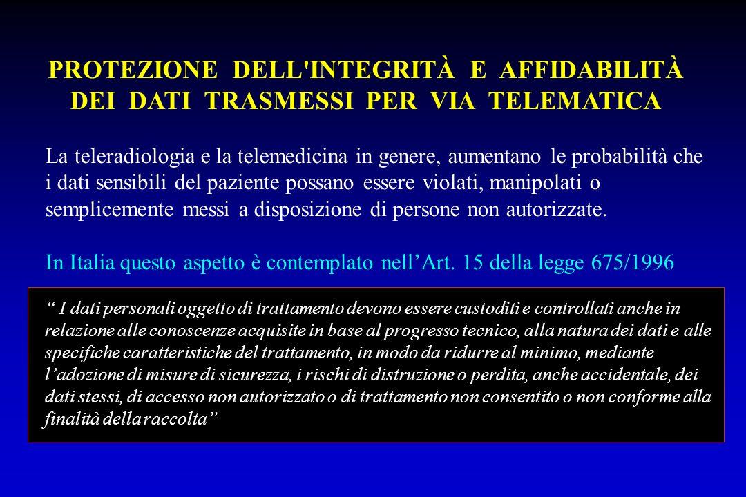 PROTEZIONE DELL INTEGRITÀ E AFFIDABILITÀ DEI DATI TRASMESSI PER VIA TELEMATICA
