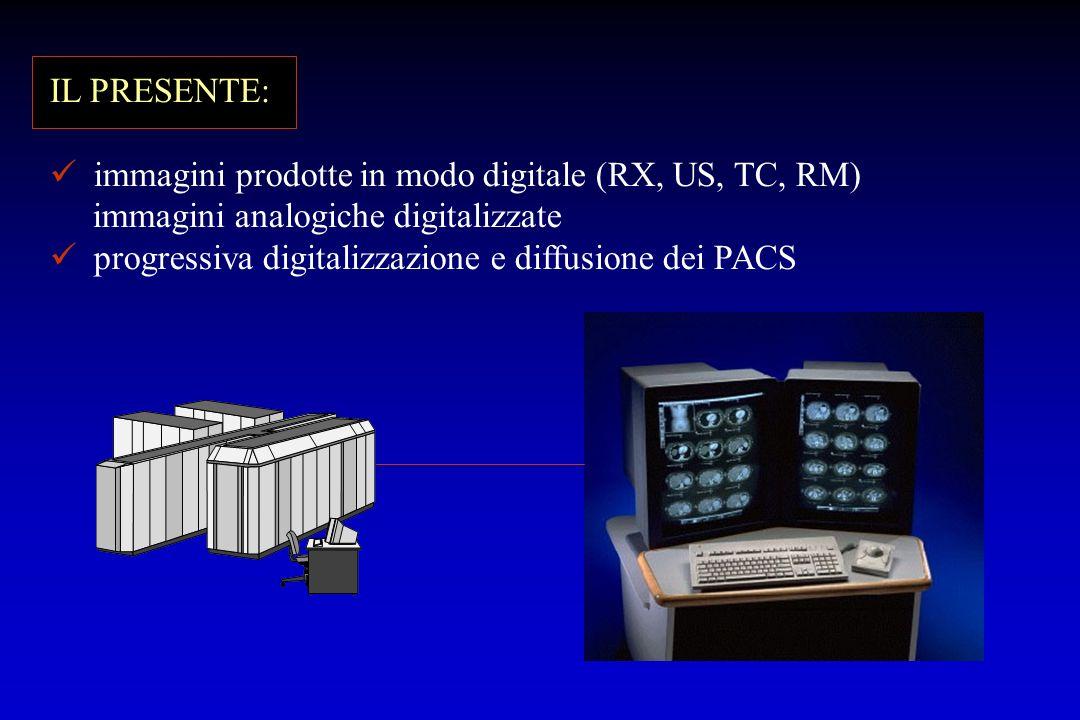 IL PRESENTE: immagini prodotte in modo digitale (RX, US, TC, RM) immagini analogiche digitalizzate.