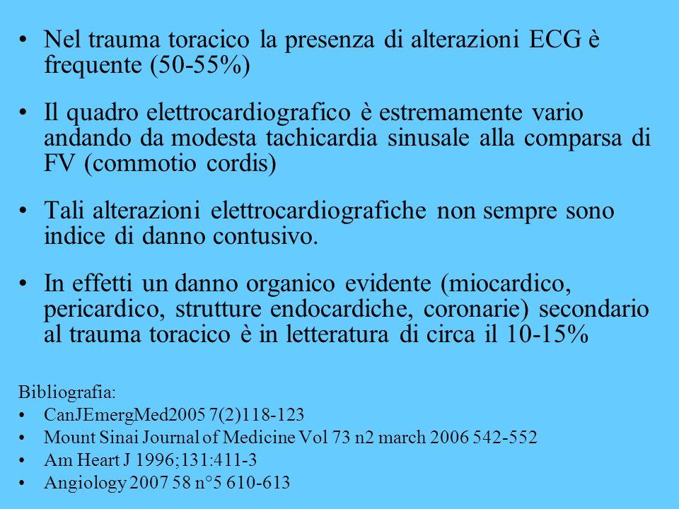 Nel trauma toracico la presenza di alterazioni ECG è frequente (50-55%)