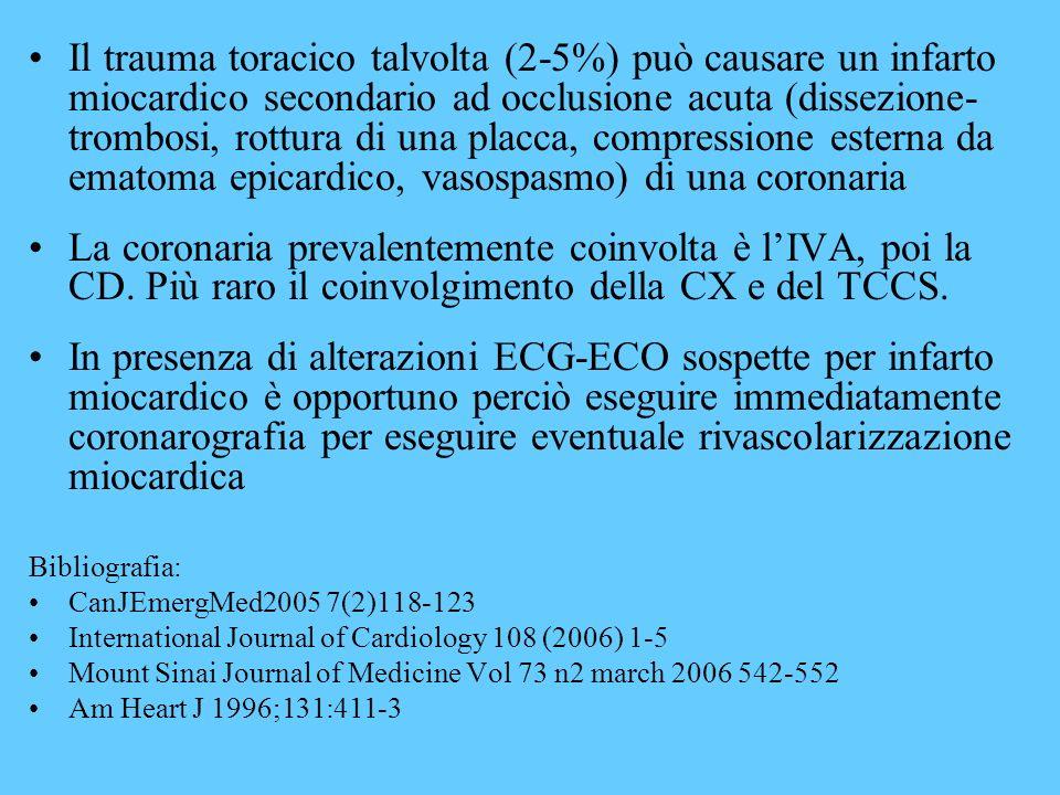 Il trauma toracico talvolta (2-5%) può causare un infarto miocardico secondario ad occlusione acuta (dissezione-trombosi, rottura di una placca, compressione esterna da ematoma epicardico, vasospasmo) di una coronaria