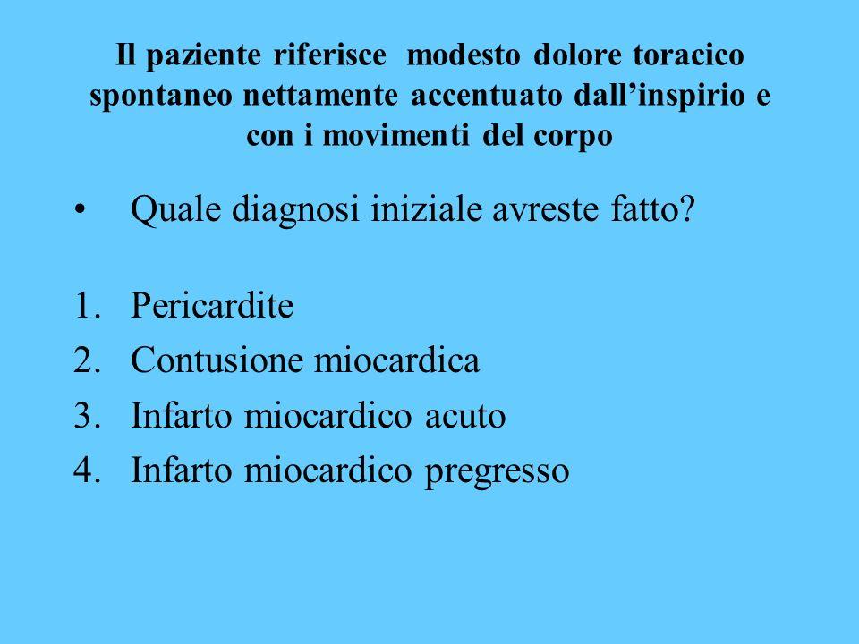 Quale diagnosi iniziale avreste fatto Pericardite