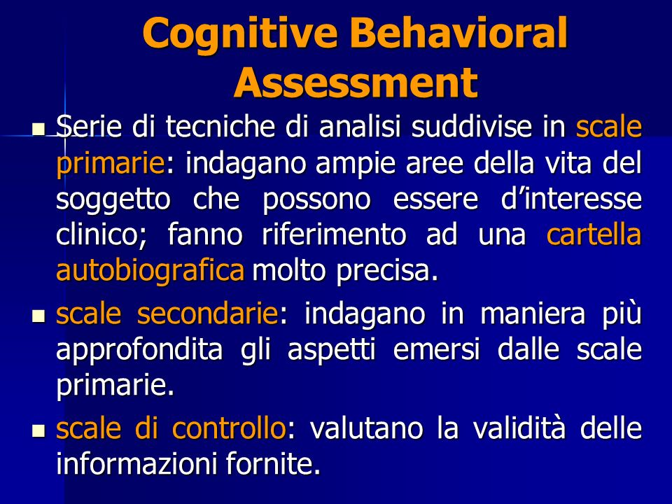 Cognitive Behavioral Assessment