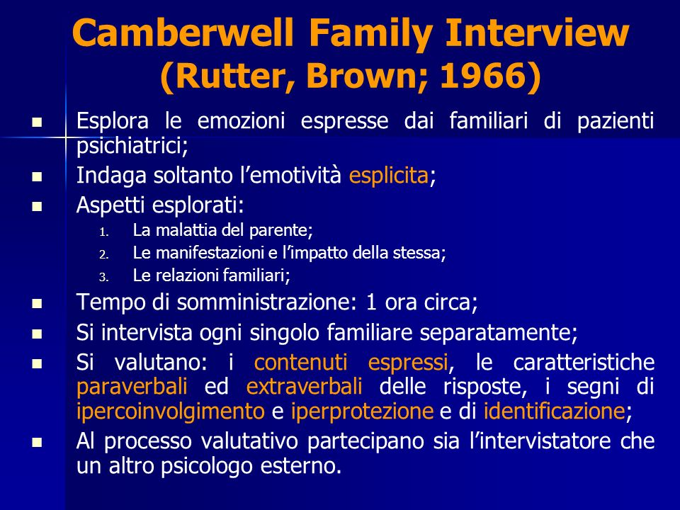 Camberwell Family Interview (Rutter, Brown; 1966)