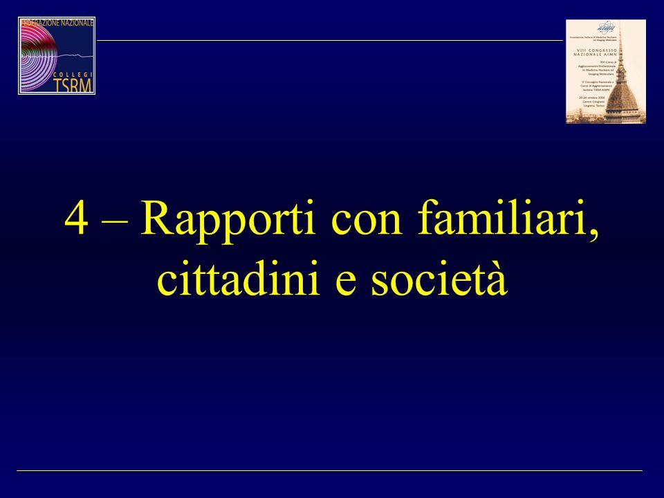 4 – Rapporti con familiari, cittadini e società