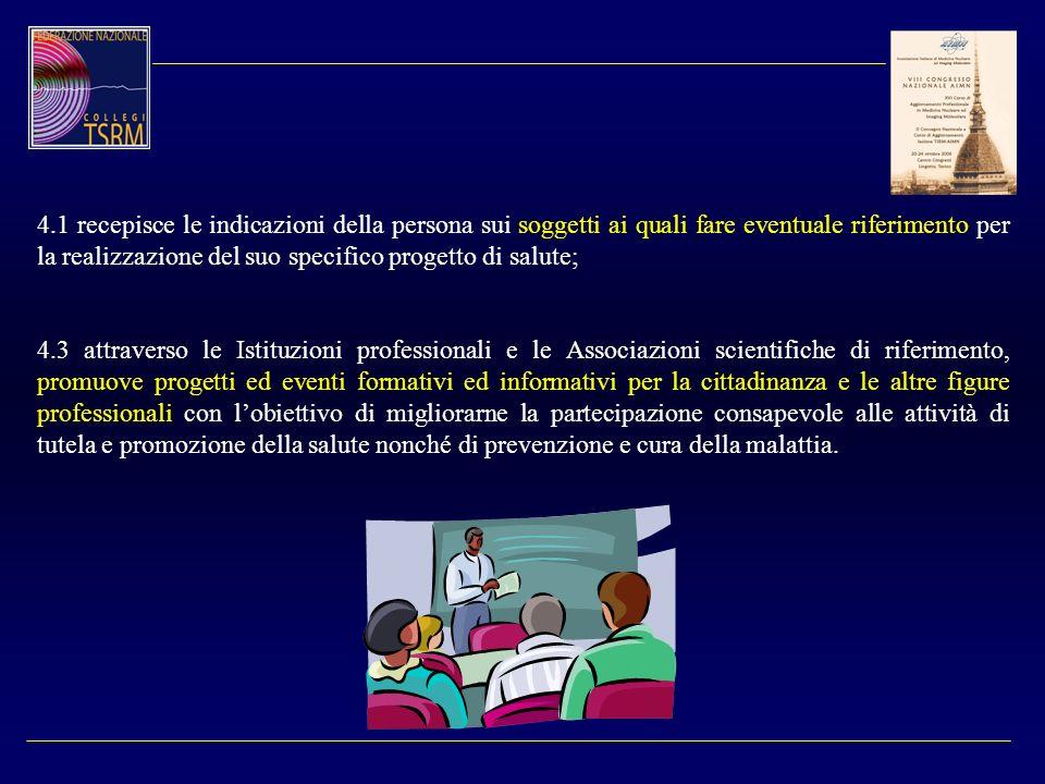 4.1 recepisce le indicazioni della persona sui soggetti ai quali fare eventuale riferimento per la realizzazione del suo specifico progetto di salute;