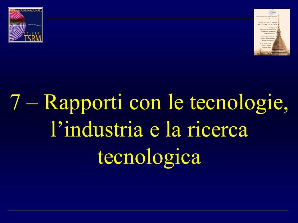 7 – Rapporti con le tecnologie, l'industria e la ricerca tecnologica