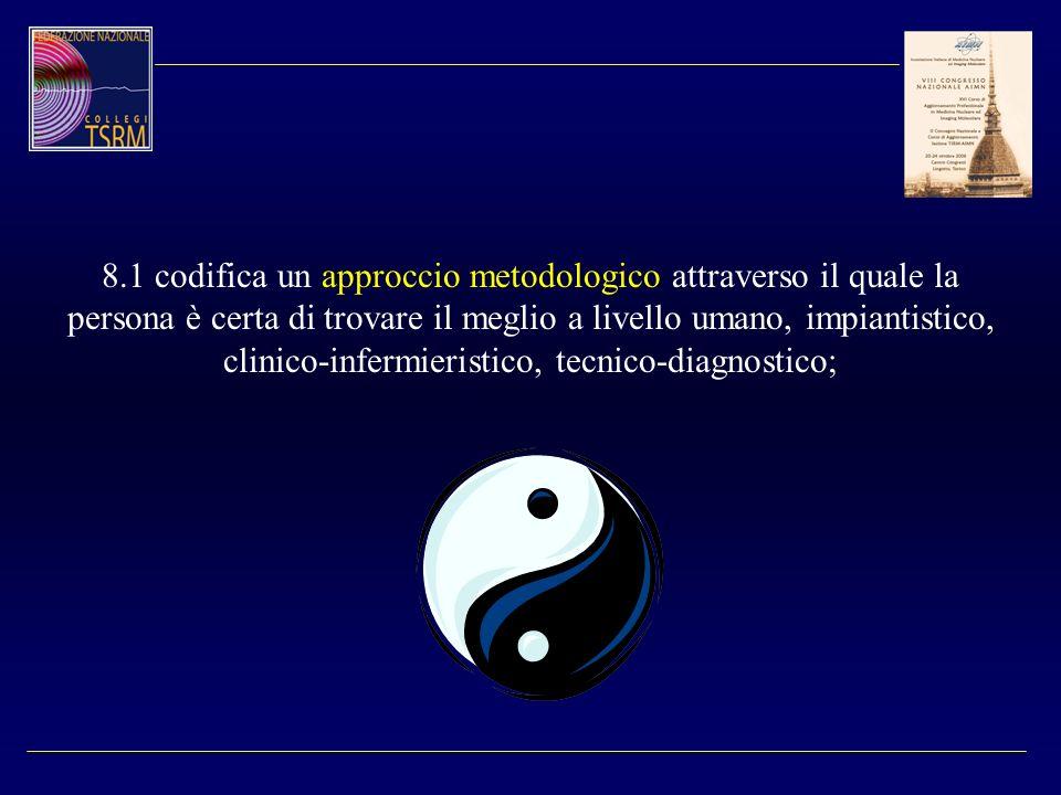8.1 codifica un approccio metodologico attraverso il quale la persona è certa di trovare il meglio a livello umano, impiantistico, clinico-infermieristico, tecnico-diagnostico;