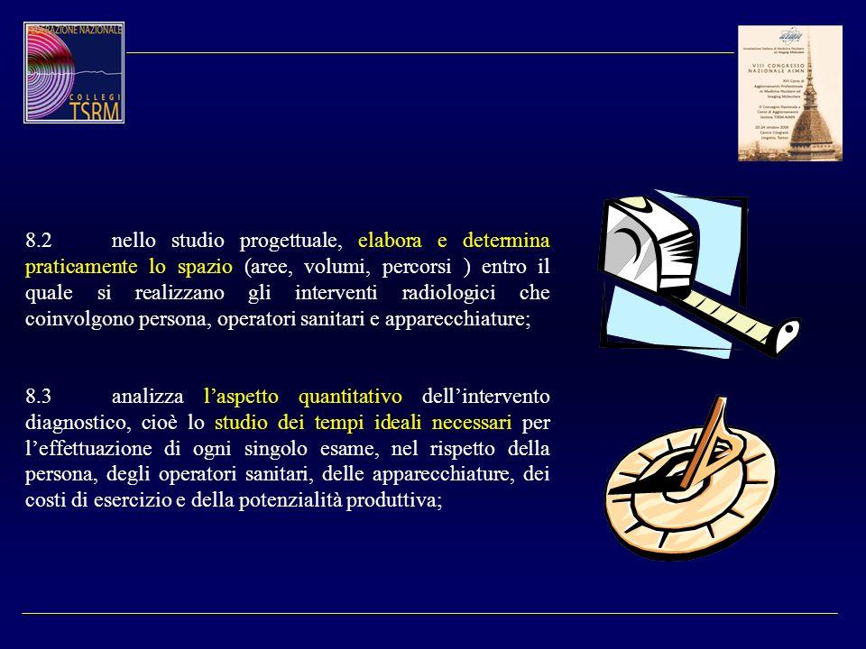 8.2 nello studio progettuale, elabora e determina praticamente lo spazio (aree, volumi, percorsi ) entro il quale si realizzano gli interventi radiologici che coinvolgono persona, operatori sanitari e apparecchiature;