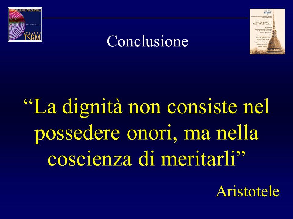 Conclusione La dignità non consiste nel possedere onori, ma nella coscienza di meritarli Aristotele.