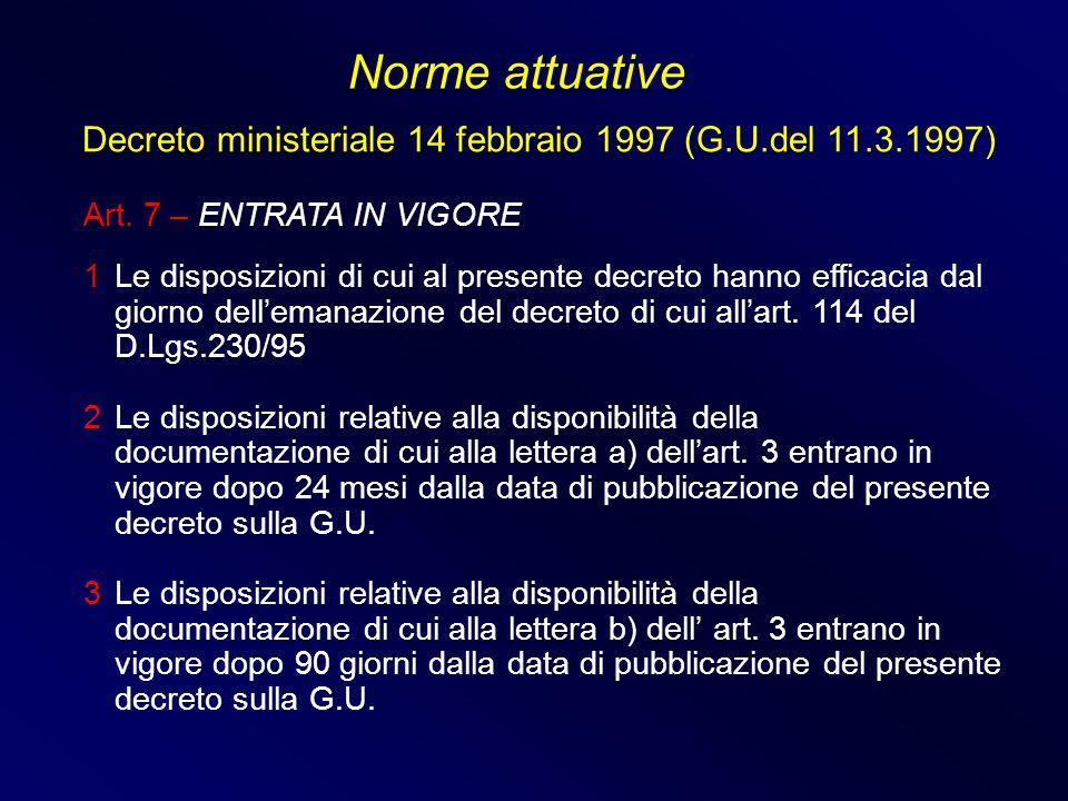 Norme attuative Decreto ministeriale 14 febbraio 1997 (G.U.del 11.3.1997) Art. 7 – ENTRATA IN VIGORE.