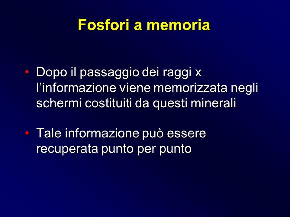 Fosfori a memoria Dopo il passaggio dei raggi x l'informazione viene memorizzata negli schermi costituiti da questi minerali.