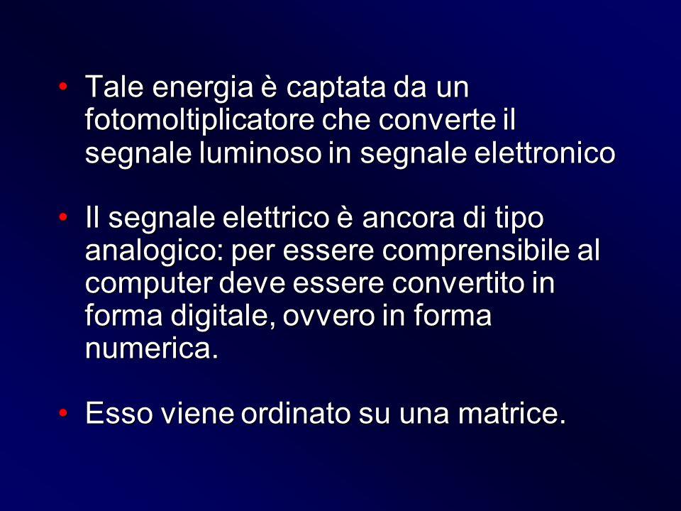 Tale energia è captata da un fotomoltiplicatore che converte il segnale luminoso in segnale elettronico