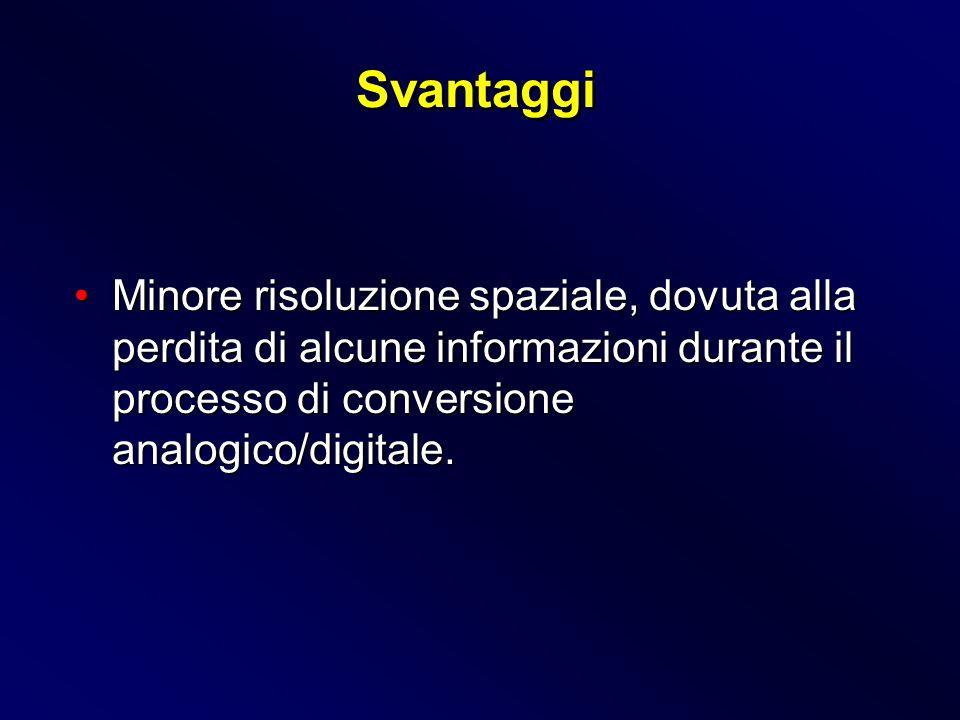 Svantaggi Minore risoluzione spaziale, dovuta alla perdita di alcune informazioni durante il processo di conversione analogico/digitale.