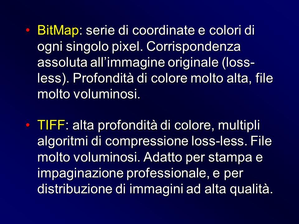 BitMap: serie di coordinate e colori di ogni singolo pixel