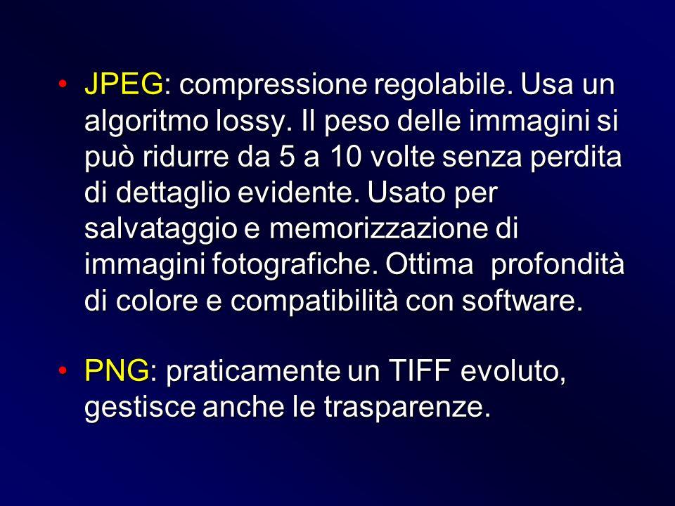 JPEG: compressione regolabile. Usa un algoritmo lossy