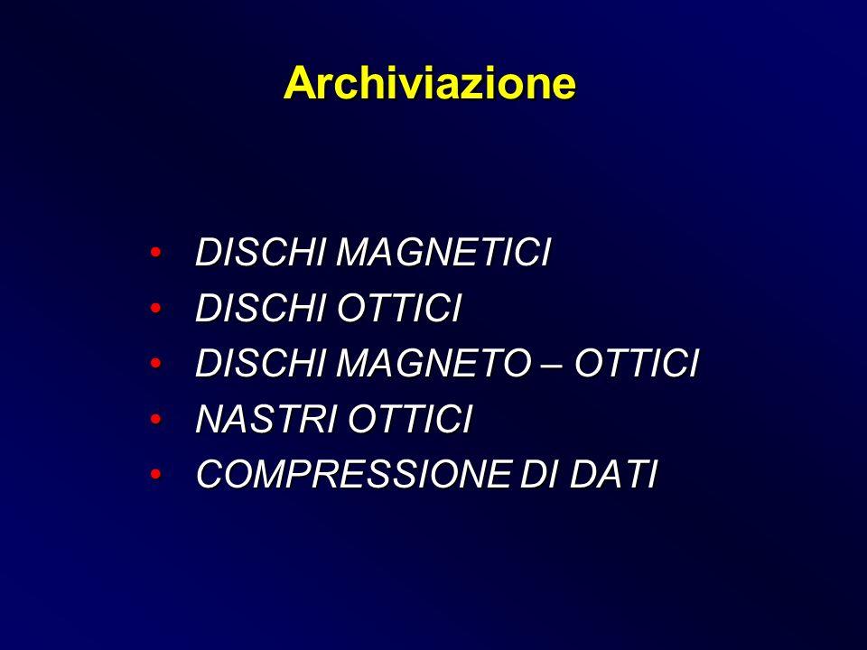 Archiviazione DISCHI MAGNETICI DISCHI OTTICI DISCHI MAGNETO – OTTICI