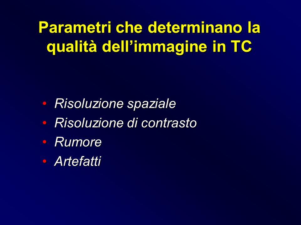 Parametri che determinano la qualità dell'immagine in TC